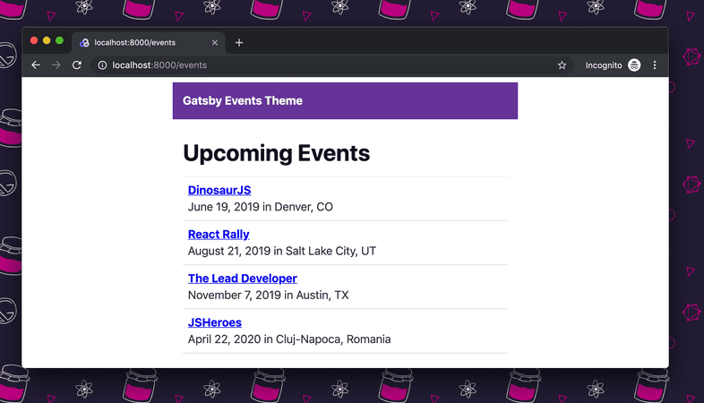 Theme UI style changes showing on the events listing.