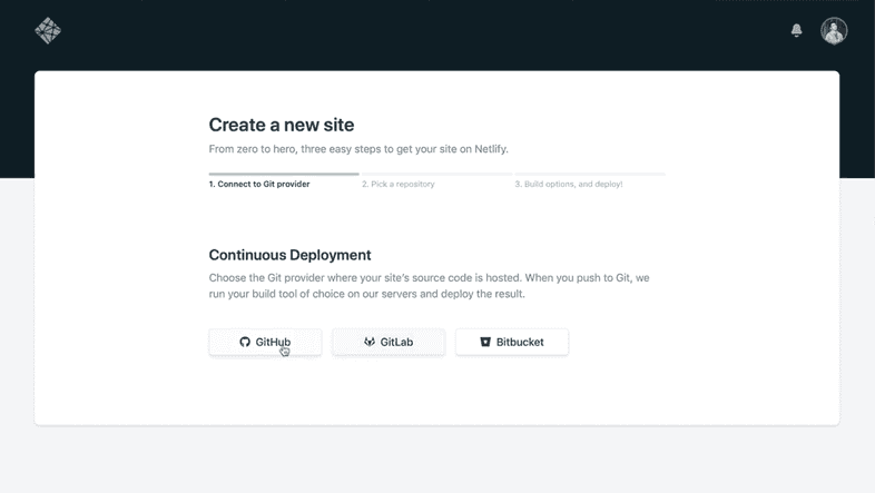 Netlify Dashboard for Creating a new site
