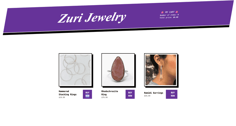 The sample site, now with a plain white background, jewelry products, and a plain white title reading Zuri Jewelry