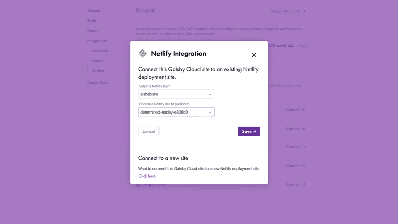 Netlify integration overlay prompts the user to choose a team and a site