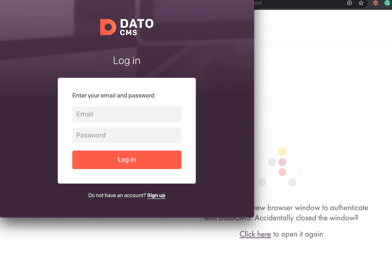 Log into DatoCMS overlaid on top of the Gatsby UI